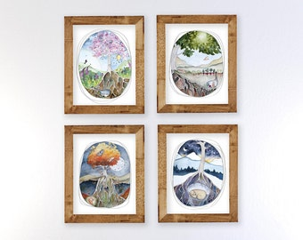 4 Seaonal Watercolors Print Set - SHIPPING INCLUDED