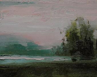 Island View. 5X7 Original tonalist landscape oil painting on canvas panel.