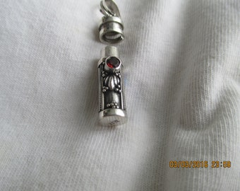 Poison Bottle..Sterling Silver..with garnet and abalone shell..Great Look..New