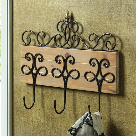Wood Scroll Wall Decor : Vintage iron wood scroll wall hook set by lainazboutique