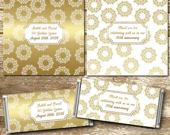 Full Sized Candy Wrappers, White and Gold Wedding, 50th Anniversary, White and Gold Anniversary, Gold Wedding Favors, wedding stickers