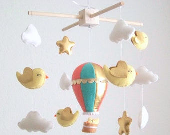 Coral mint hot air balloon mobile, baby mobile, gold mobile, nursery crib mobile, mint mobile, bird mobile, nursery decor