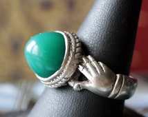 Old Iranian men's  Silver Ring with Green Agate Chrysoprase