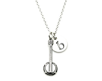 BANJO INITIAL Personalized Sterling Silver Necklace *