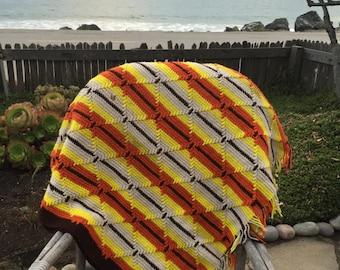 70's crochet throw