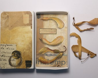 Art box:petit diorama, peinture originale dans une boîte d'allumette.