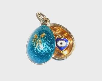 14kt Gold Blue Enamel Movable 3D Egg Mystery Evil Eye Fleur De Lis Roses Charm Pendant