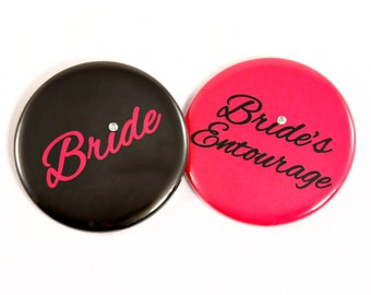 "Bride Button. Bride's Entourage Button. 2.25"" Bridal Party Buttons. Bachelorette Party. Bachelorette Party Buttons. Bachelorette Party Favor"