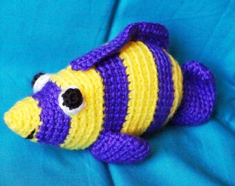 Yellow and Purple Striped Fish Amigurumi