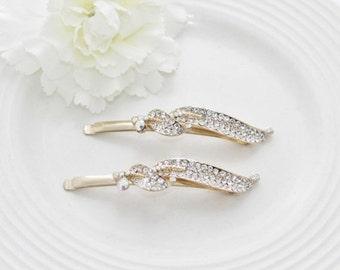White clear Rhinestone Leaf Bobby Pin Wedding Prom Bridal Hair Clip Gold Plated.