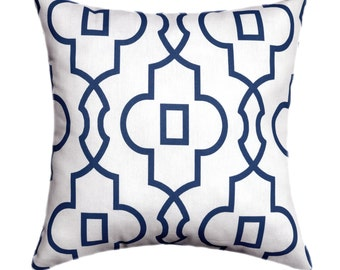 Decorative Pillow Cover - Navy Blue Throw Pillows - Bordeaux Navy Lattice Pillow Cover - Geometric Accent Pillow - Blue White Pillow Case