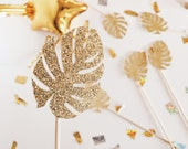 Gold Glitter Philodendron Leaves cocktail stirrers