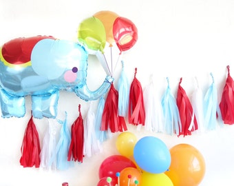Circus Elephant Balloon Tassel Garland Party Set by Oh Shiny Paper Co