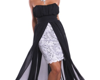 2016 New Beautiful Evening Dress Black White Lace.Maxi Bustier Dress Party