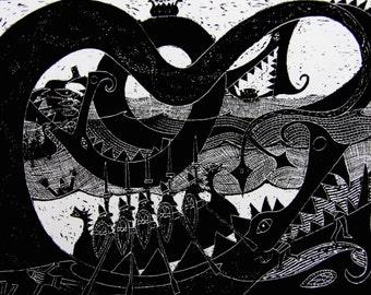 Sea Monsters - Greetings Card