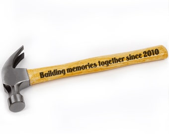 ThanksGiving Gift-Personalized Hammer,Building Memories Togther Since 2010,Personalized Engraved Hammer with Any Message,Wooden Hammer