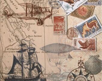 Decoupage paper napkins, Sailing, travel, Around the world, Set of 3 paper napkins, size 33x33cm (no.86)