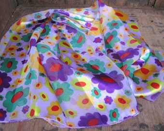 Flower Power Scarf - Psychedelic Scarf - Vintage Scarf - Ladies Scarf - 1970s Scarf - Hippie Scarf - Hippy Scarf - Boho Scarf - Bright