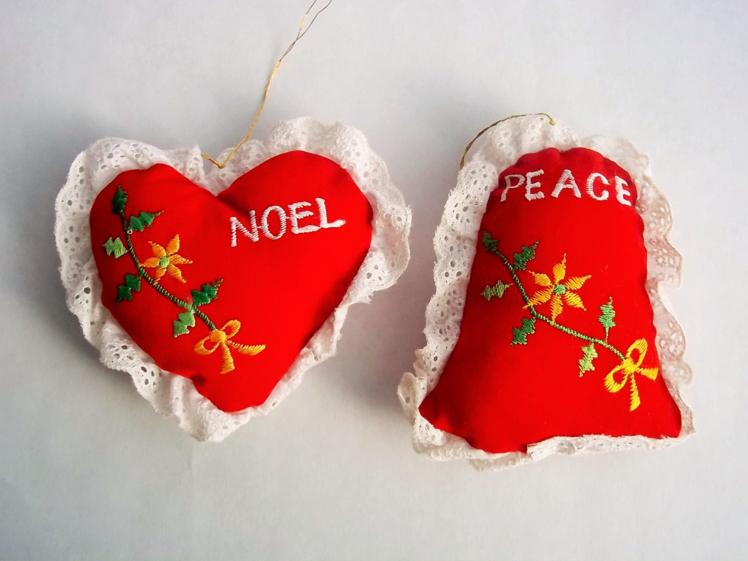 Vintage Ornaments Velvet And Lace 1980s Giftco Red Christmas