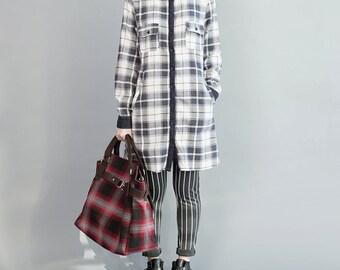 women cotton long blouses/women spring tops/women leisure blouses/