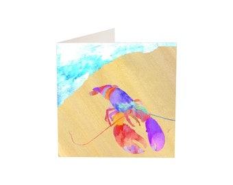 Lobster on a Beach Greeting Card