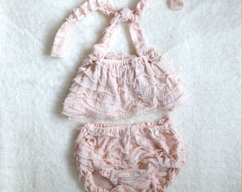 Baby Girl Pink Blush Ruffle Bikini and Diaper Cover/Bloomer