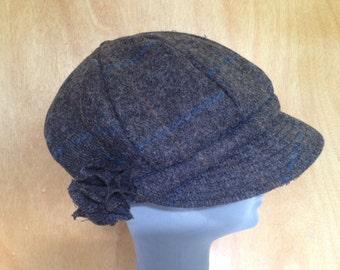 Ladies Newsboys Cap Hat - 100% Tweed Wool - Donegal Tweed Hats - Womens Irish Bakerboy Hats - Newsboy Cap -