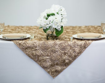 52 inch Champagne Rosette Table Overlay | Wedding Tablecloths