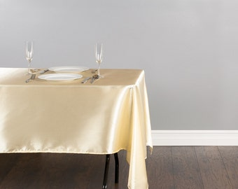 60 x 102 inch Banquet Satin Champagne Tablecloth | Wedding Tablecloth