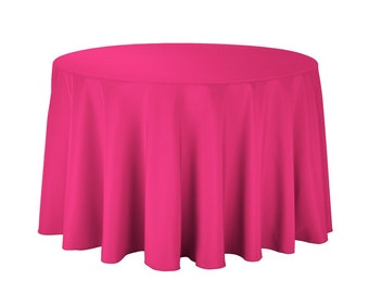 Exceptional Fuchsia Tablecloth Round Polyester   Wedding Tablecloth   Choose Size