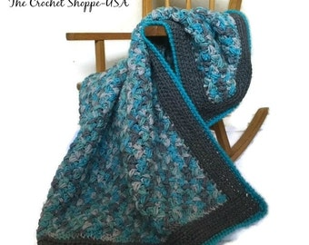 Crochet Baby Zig Zag Puff baby Afghan in Turquoise & Gray Baby Shower Gift Made to Order