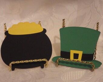 St. Patricks Day - Leprechaun Hat & Pot Of Gold Die Cuts - 12 Piece Set