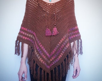 SALE!!! Was 150, Crochet poncho. Brown with pink detail. Crochet top