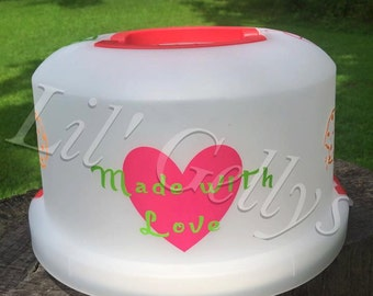 personalized cake carrier,reusable gifts,personalized gifts,custom gifts,custom items,personalized carrier,cake container,baking gifts,