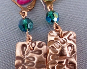 Handcrafted Metal Clay Copper Earrings with Swarovski Crystal Beads and Copper Leverback Finding   PMCE080