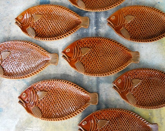 McCoy Fish Plates Sets of Two, Oven to Table Amber Glaze Oven Proof 9374 USA