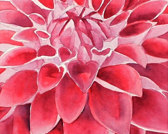 "Deep Red Dahlia, Original Watercolor Painting, 5""X7"""