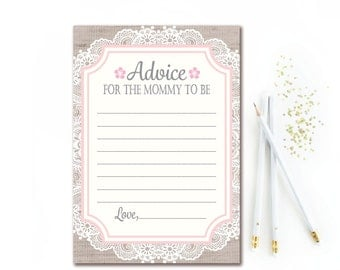 Burlap & Lace Advice for the Mommy To Be -  Printable Baby Shower Advice Card - Shabby Chic Mom To Be Advice Card -  Rustic INSTANT DOWNLOAD
