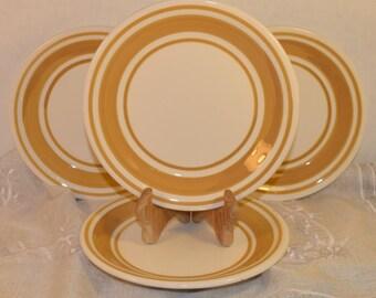 Keramos Italian Salad Plate Set Vintage Handmade in Italy Set of 4 Salad Plates Yellow Trim Ceramic Plate Set Hostess Gift Housewarming Gift