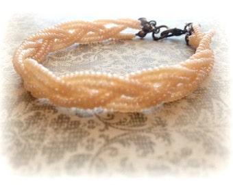 Dainty Bracelet, Peach Pearl Bracelet, Pearl Bracelet, Braid Bracelet, Beaded Bracelet, Gift for Her, Peach Bracelet, Bridesmaid Gift
