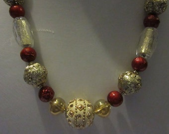 Red,gold and cream statement necklace