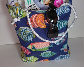 Colorful Fish Large Tote/Beach Tote/Over Night Bag/Gifts for Her/Work Bag