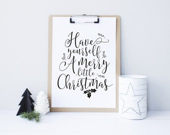 Have Yourself a Merry Little Christmas, Christmas printable decor, holiday typography decor, gold color - Instant Download