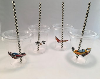 Race Car Party Cups with Lids and Straws, Plastic Race Car Party Drink Cups