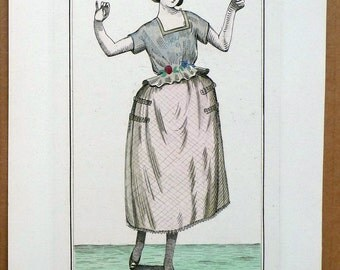 Original Pochoir Print from Journal des Dames et des Modes in 1920, Plate 1