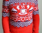 Hand knitted ''Twin Peaks'' men's sweater