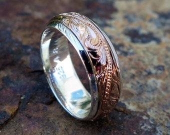 Hawaiian 14k Rose Gold  7mm Plated Sterling Silver Spinning Plumeria Ring - Design #11