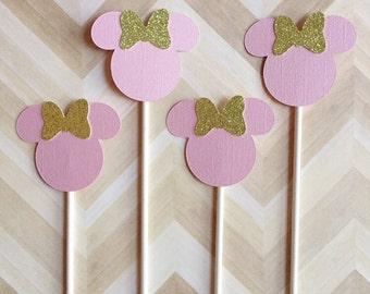Minnie Mouse Cupcake Toppers Pink and Gold Cupcake Toppers Cake Topper Minnie Birthday Decor Pink Minnie Mouse Gold Minnie Mouse Glitter