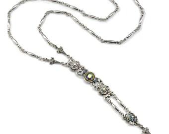 Silver Y Necklace, Sweet Romance, Art Deco Necklace, Lariat Necklace, 1920s Necklace, Long Necklace, Art Deco, Bridesmaid Necklace N1445