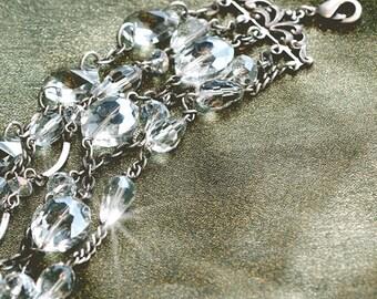 Crystal Bracelet, Multi Strand Bracelet, Crystal Bracelet, Bracelet, Crystal, Wedding Bracelet, Bridesmaid Bracelet BR1104-CR